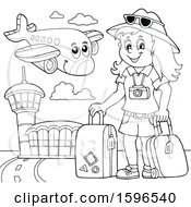 Clipart Of A Lineart Female Traveler At An Airport Royalty Free Vector Illustration
