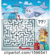 Clipart Of A Maze With A Female Traveler At An Airport Royalty Free Vector Illustration
