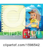 Clipart Of A Paper Border With A Female Traveler Royalty Free Vector Illustration