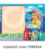 Clipart Of A Border With A Female Traveler Royalty Free Vector Illustration