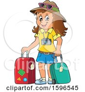 Clipart Of A Female Traveler Royalty Free Vector Illustration