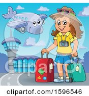Clipart Of A Female Traveler At An Airport Royalty Free Vector Illustration