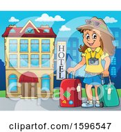 Clipart Of A Female Traveler At A Hotel Royalty Free Vector Illustration