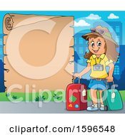 Clipart Of A Scroll Border With A Female Traveler Royalty Free Vector Illustration