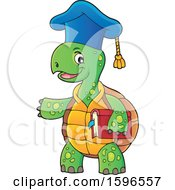 Clipart Of A Tortoise Teacher Holding A Book And Presenting Royalty Free Vector Illustration by visekart