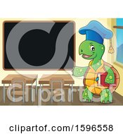 Tortoise Teacher Holding A Book And Presenting A Blackboard