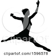 Poster, Art Print Of Black Silhouetted Ballerina Dancing