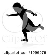Silhouetted Girl Running With A Reflection Or Shadow On A White Background