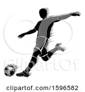Clipart Of A Motion Blur Styled Silhouetted Soccer Player In Action Royalty Free Vector Illustration