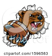 Clipart Of A Bear Sports Mascot Breaking Through A Wall With An American Football In A Paw Royalty Free Vector Illustration by AtStockIllustration