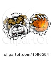 Tough Bulldog Monster Sports Mascot Holding Out A Basketball In One Clawed Paw And Breaking Through A Wall