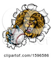 Tough Lion Sports Mascot Holding Out A Baseball And Breaking Through A Wall