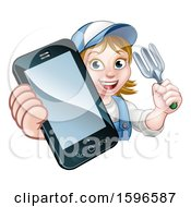 Cartoon Happy White Female Gardener Holding A Garden Fork And A Cell Phone