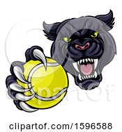 Clipart Of A Tough Black Panther Monster Mascot Holding Out A Tennis Ball In One Clawed Paw Royalty Free Vector Illustration by AtStockIllustration