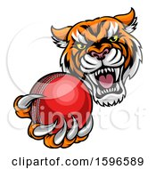 Vicious Tiger Sports Mascot Grabbing A Cricket Ball