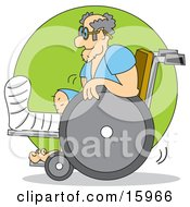 Man With His Leg In A Cast Using A Wheelchair Clipart Illustration