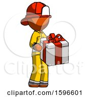 Orange Firefighter Fireman Man Giving A Present