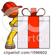 Orange Firefighter Fireman Man Gift Concept Leaning Against Large Present