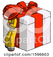 Orange Firefighter Fireman Man Leaning On Gift With Red Bow Angle View
