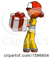 Orange Firefighter Fireman Man Presenting A Present With Large Red Bow On It