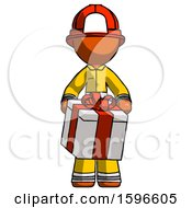 Orange Firefighter Fireman Man Gifting Present With Large Bow Front View