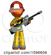 Orange Firefighter Fireman Man Holding Sniper Rifle Gun