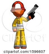 Orange Firefighter Fireman Man Holding Handgun
