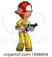 Orange Firefighter Fireman Man Tommy Gun Gangster Shooting Pose