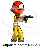Orange Firefighter Fireman Man Shooting Automatic Assault Weapon