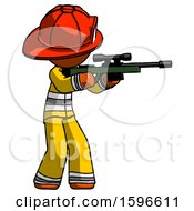 Orange Firefighter Fireman Man Shooting Sniper Rifle