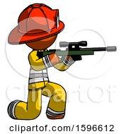 Orange Firefighter Fireman Man Kneeling Shooting Sniper Rifle