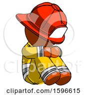 Orange Firefighter Fireman Man Sitting With Head Down Facing Angle Right