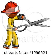 Orange Firefighter Fireman Man Holding Giant Scissors Cutting Out Something