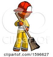 Orange Firefighter Fireman Man Sweeping Area With Broom