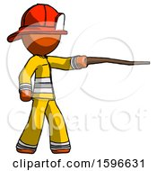 Orange Firefighter Fireman Man Pointing With Hiking Stick