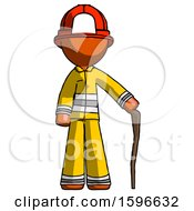 Orange Firefighter Fireman Man Standing With Hiking Stick