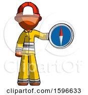 Orange Firefighter Fireman Man Holding A Large Compass