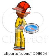 Orange Firefighter Fireman Man Looking At Large Compass Facing Right