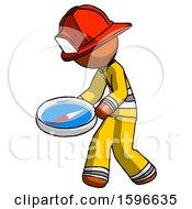 Orange Firefighter Fireman Man Walking With Large Compass