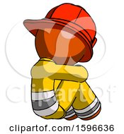 Orange Firefighter Fireman Man Sitting With Head Down Back View Facing Right