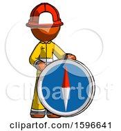 Orange Firefighter Fireman Man Standing Beside Large Compass