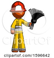 Orange Firefighter Fireman Man Holding Feather Duster Facing Forward