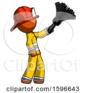 Orange Firefighter Fireman Man Dusting With Feather Duster Upwards