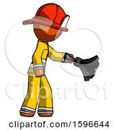 Orange Firefighter Fireman Man Dusting With Feather Duster Downwards