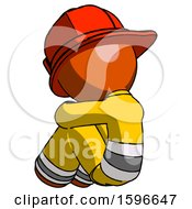 Orange Firefighter Fireman Man Sitting With Head Down Back View Facing Left