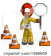 Orange Firefighter Fireman Man Holding Stop Sign By Traffic Cones Under Construction Concept
