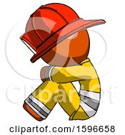 Orange Firefighter Fireman Man Sitting With Head Down Facing Sideways Left