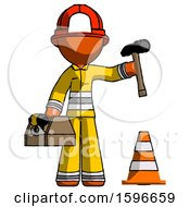 Orange Firefighter Fireman Man Under Construction Concept Traffic Cone And Tools