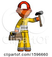 Orange Firefighter Fireman Man Holding Tools And Toolchest Ready To Work