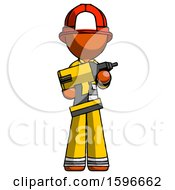 Orange Firefighter Fireman Man Holding Large Drill
